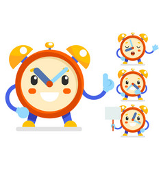 Cute alarm clock child ticker kid character icons vector