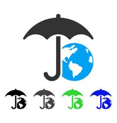 Earth umbrella flat icon vector