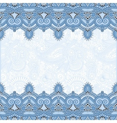 Ethnic blue colour stripe ornament on floral vector