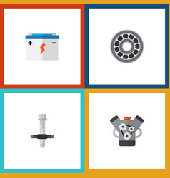 flat icon service set of muffler brake disk vector image vector image