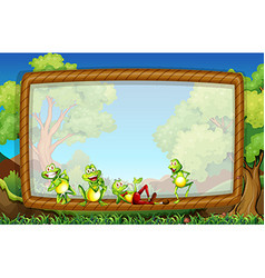 Frame template with frogs in the garden vector