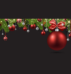 grey background with red christmas ball vector image
