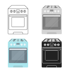 Kitchen stove icon in cartoon style isolated on vector