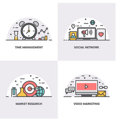 linear design concepts and icons for time vector image vector image