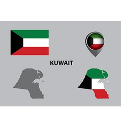 Map of Kuwait and symbol vector image