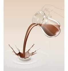 Milk chocolate splash stream flow from glass jug vector