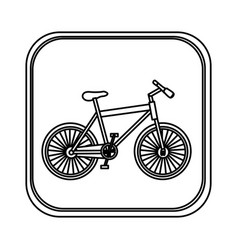 monochrome rounded square with bicycle vector image vector image