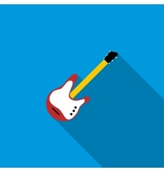 Red electric guitar icon flat style vector