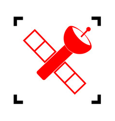 Satellite sign red icon vector
