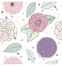 Seamless pattern multicolor leaves and flowers vector