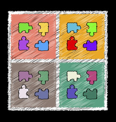 Set of flat shading style icons kids puzzle vector