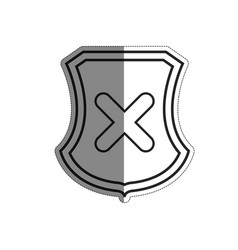 Shield with wrong icon vector