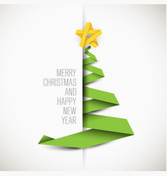 simple card with christmas tree vector image vector image