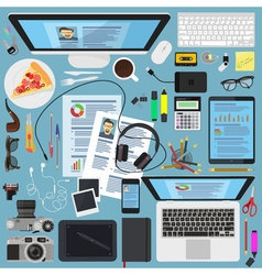 Top view desktop flat design design elements vector image vector image