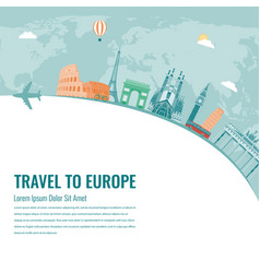 travel composition with famous europe landmarks vector image vector image