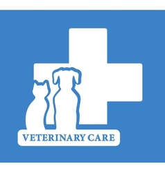 Veterinary care icon with white pet vector