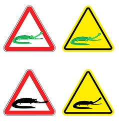 Warning sign of attention crocodile Dangers yellow vector image vector image