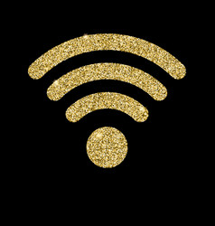 wi-fi icon with glitter effect isolated on black vector image vector image