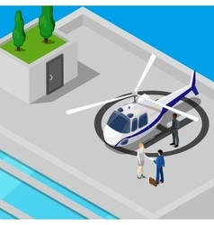 Isometric helicopter with business people vector