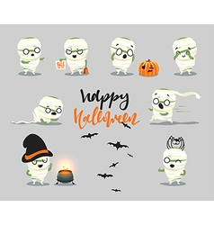 Happy Halloween Set cute cartoon character vector image