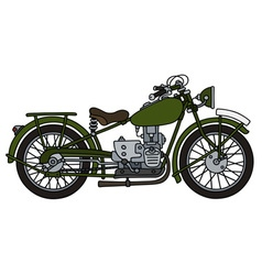 Vintage green motorcycle vector