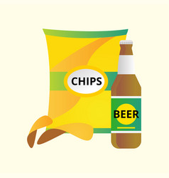 Beer bottle and potato chips vector