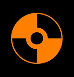 Cd or dvd sign orange icon on black vector
