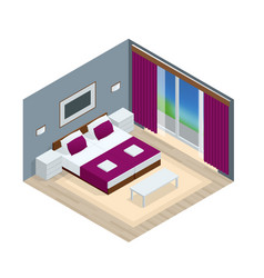Isometric bedroom interior interior of a modern vector
