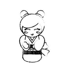 kokeshi doll geisha decorative sketch vector image
