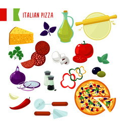 Cartoon italian pizza ingredients set vector