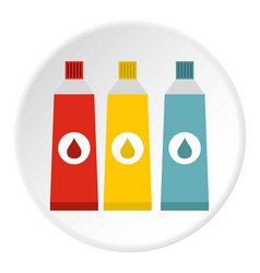 Three color paint in tube icon flat style vector