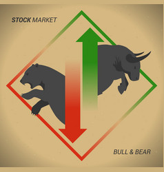 Stock market concept bull vs bear with up and vector