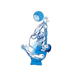 Basketball players rebound vector