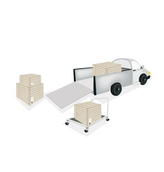 Hand truck loading shipping box into pickup truck vector