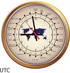 gold clock with time zones vector image