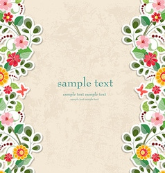 invitation card with cute flowers for your design vector image