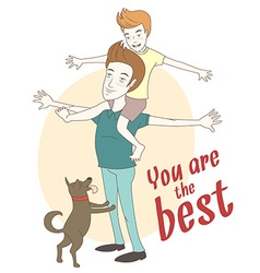 Son on his fathers shoulders with their dog hand vector