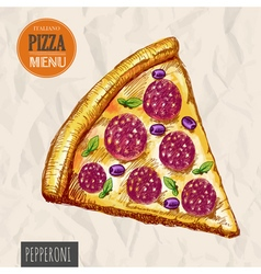 A slice of pepperoni pizza vector