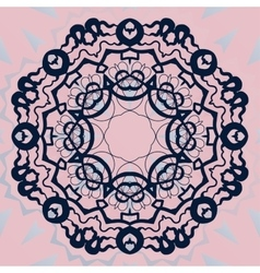 Ornate mandala flower stylized ornament on pink vector