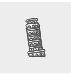 Leaning tower of pisa sketch icon vector