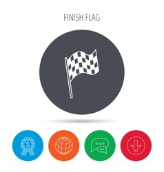 Finish flag icon start race sign vector