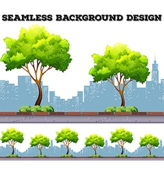 Tree along the sidewalk with city buildings vector