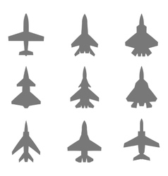 Jet silhouettes set vector