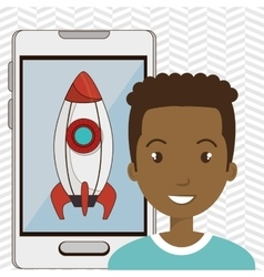 Man smartphone rocket isolated icon design vector
