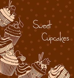 Background with sweet cupcakes vector image vector image