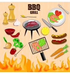 Bbq grill decorative icons set vector
