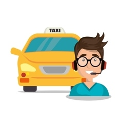 Call center man young taxi service vector
