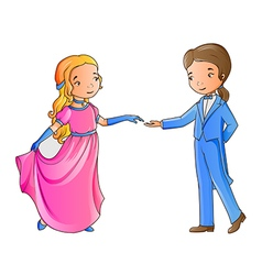 Cartoon boy and girl dancing vector image