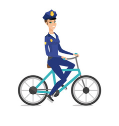 Caucasian police officer on bicycle vector