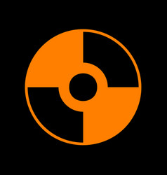Cd or dvd sign orange icon on black vector